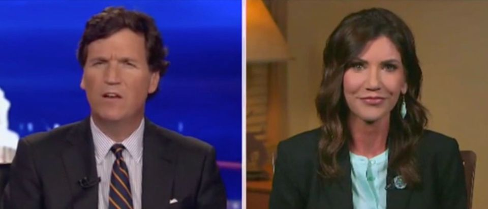 Tucker Carlson and Gov. Kristi Noem (Screenshot/Fox News)