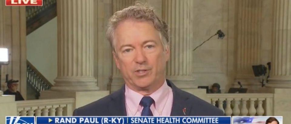 "Sen. Rand Paul appears on ""The Five."" Screenshot/Fox News"