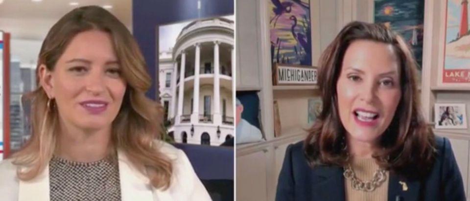 Katy Tur and Gov. Gretchen Whitmer (Screenshot/MSNBC)