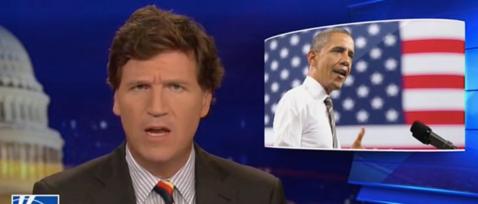 Tucker Carlson addresses former President Barack Obama's statement on Boulder shooting. Screenshot/Fox News