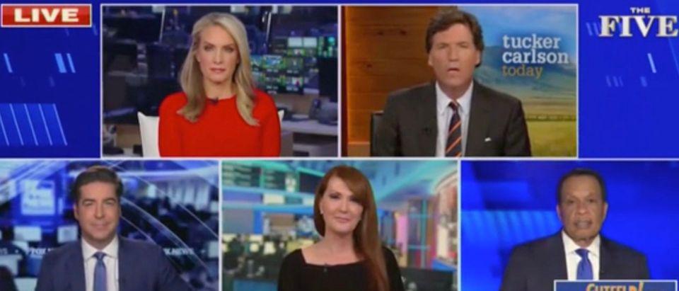 Dana Perino, Tucker Carlson, Jesse Watters, Dagen McDowell, and Juan Williams (Screenshot/Fox News)