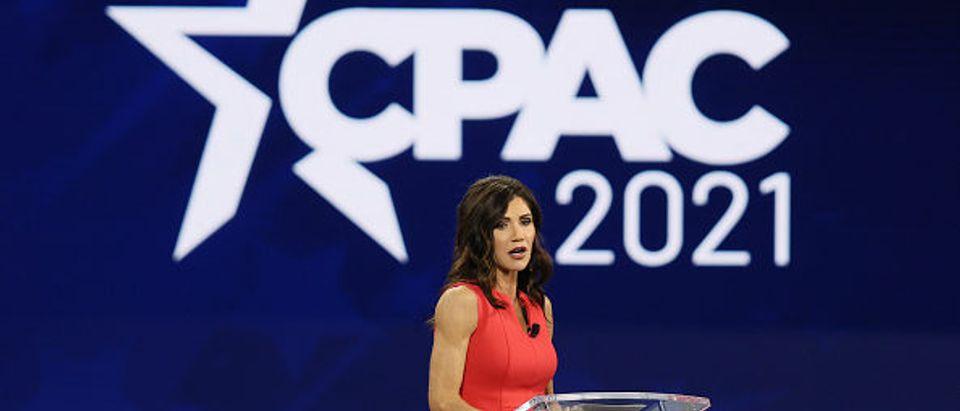 South Dakota Gov. Kristi Noem address CPAC in Orlando, Florida. (Joe Raedle. Getty)