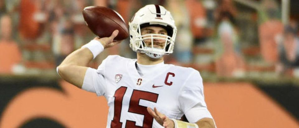 CORVALLIS, OREGON - DECEMBER 12: Quarterback Davis Mills #15 of the Stanford Cardinal passes the ball during the first half of the game against the Oregon State Beavers at Reser Stadium on December 12, 2020 in Corvallis, Oregon. (Photo by Steve Dykes/Getty Images)