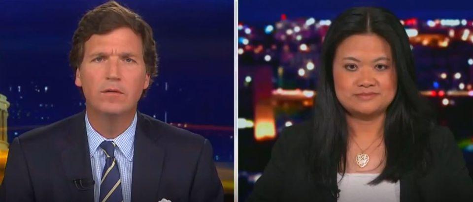 Tucker Carlson, guest discuss violence against Asian Americans (Fox News screengrab)