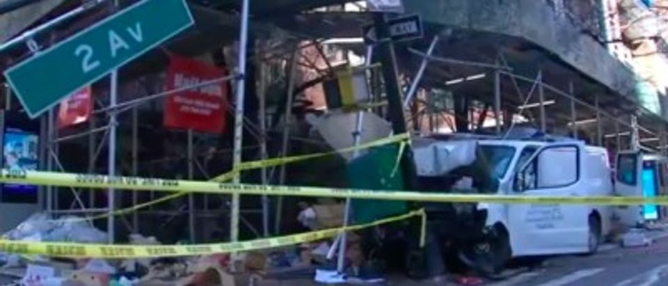 Screenshot of video of ABC7 NY https://abc7ny.com/outdoor-dining-crash-van-into-bus-stop-people-injured-by-out-of-control-vehicle-manhattan/10390823/