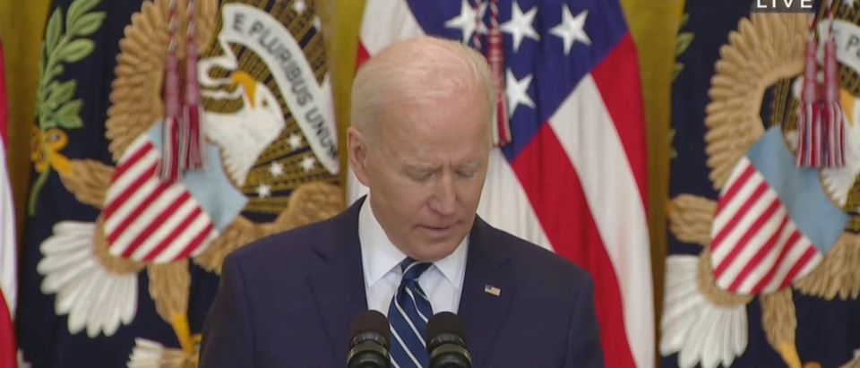 Joe Biden relied on notes to call on reporters for his first official press conference Thursday. (Screenshot YouTube CSPAN)
