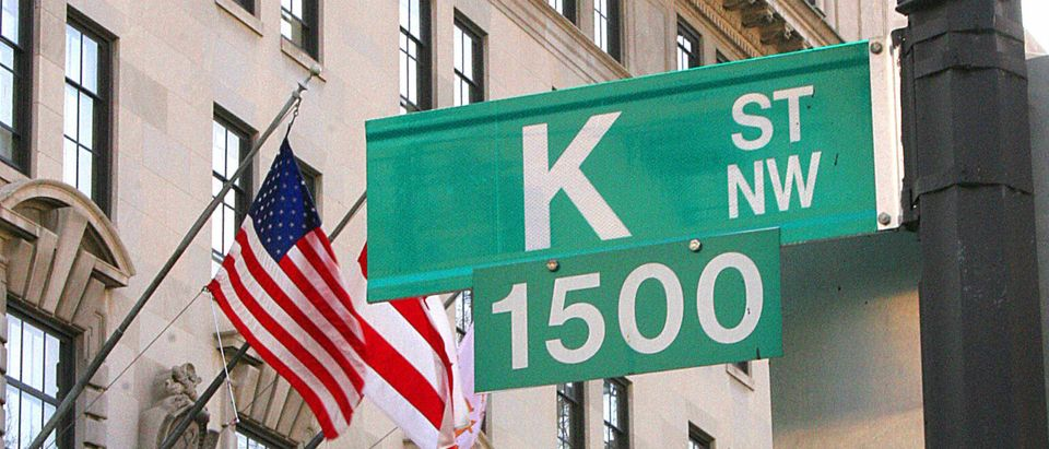 A sign showing K Street is shown 01 Febr