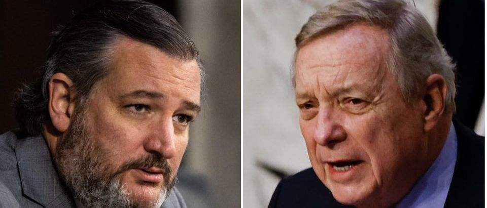 Sen. Ted Cruz called out Sen. Dick Durbin regarding an issue over claims about illegal immigrations. (Graeme Jennings-Pool/Getty Images, Carlos Barria-Pool/Getty Images)