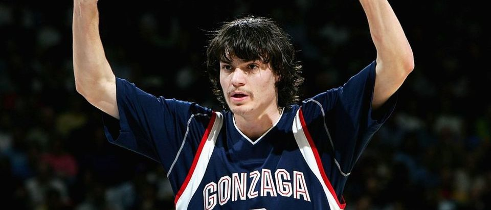 OAKLAND, CA - MARCH 23: Adam Morrison #3 of the Gonzaga Bulldogs calls a play against the UCLA Bruins during the third round game of the NCAA Division I Men's Basketball Tournament at the Arena in Oakland on March 23, 2006 in Oakland, California. (Photo by Jed Jacobsohn/Getty Images)
