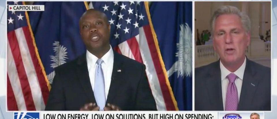 CA-R Rep. Kevin McCarthy says R-SC Sen. Tim Scott should run for president [Screenshot:Fox News]