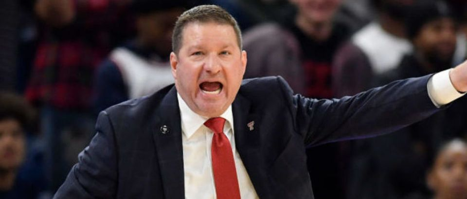 CHICAGO, ILLINOIS - DECEMBER 04: Head coach Chris Beard of the Texas Tech Red Raiders reacts in the second half against the DePaul Blue Demons at Wintrust Arena on December 04, 2019 in Chicago, Illinois. (Photo by Quinn Harris/Getty Images)