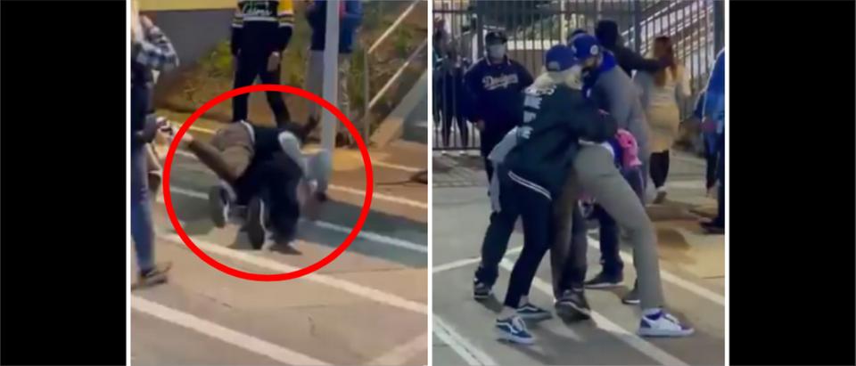 Dodgers Fight (Credit: Screenshot/Twitter Video https://twitter.com/icamposem/status/1386929448428003332)