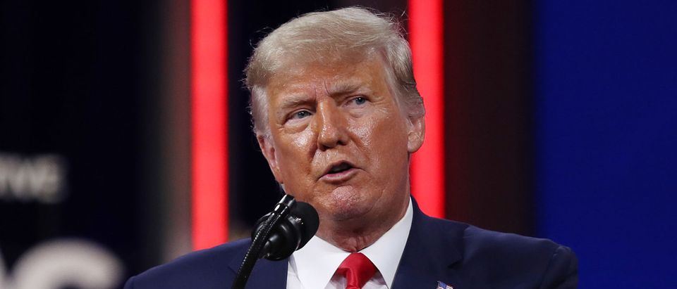 Former President Donald Trump addresses the Conservative Political Action Conference in Orlando, Florida.