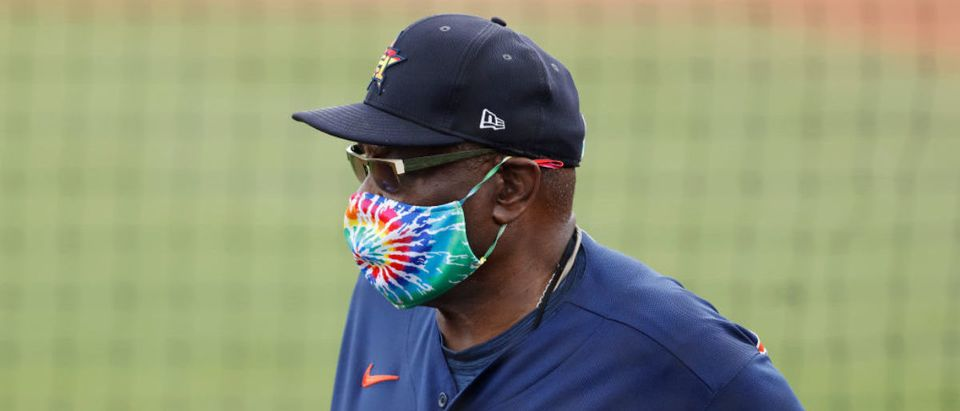 JUPITER, FLORIDA - MARCH 20: Manager Dusty Baker of the Houston Astros looks on against the St. Louis Cardinals during a Grapefruit League spring training game at Roger Dean Stadium on March 20, 2021 in Jupiter, Florida. (Photo by Michael Reaves/Getty Images)