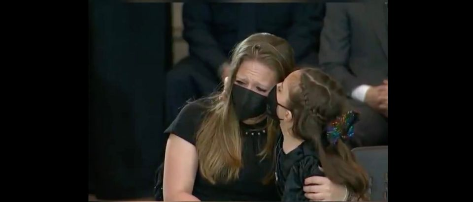 Family of Capitol Officer Billy Evans Grive During His Memoral Service [Twitter:Screenshot:Boston 25 News]