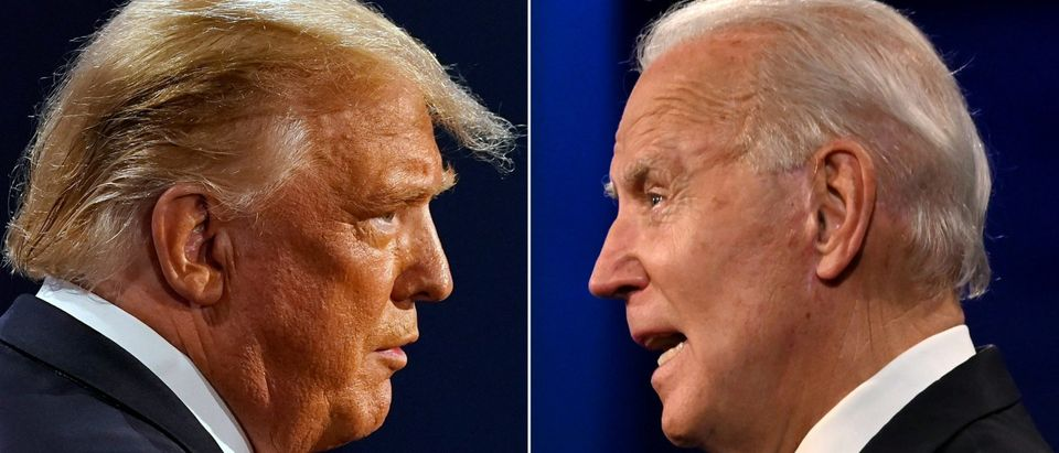 This combination of pictures created on October 22, 2020 shows US President Donald Trump (L) and Democratic Presidential candidate and former US Vice President Joe Biden during the final presidential debate at Belmont University in Nashville, Tennessee, on October 22, 2020. (Photo by MORRY GASH,JIM WATSON/AFP via Getty Images)