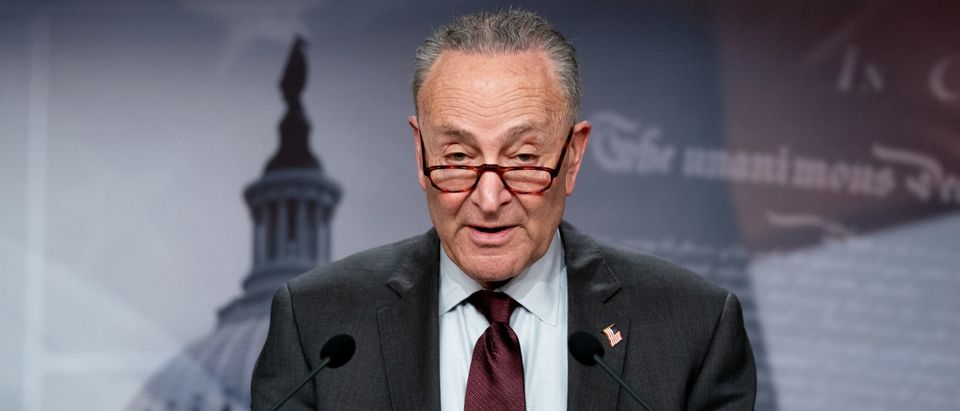 Senate Majority Leader Chuck Schumer Addresses The Media After Weekly Policy Luncheons