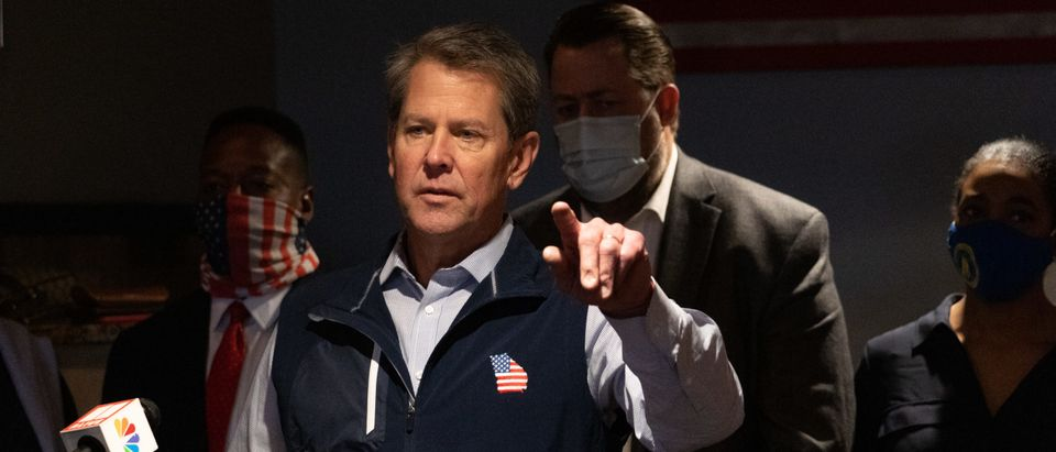 Georgia Gov. Brian Kemp speaks at a news conference about the state's new Election Integrity Law that passed this week at AJ's Famous Seafood and Poboys on April 10, 2021 in Marietta, Georgia. (Megan Varner/Getty Images)