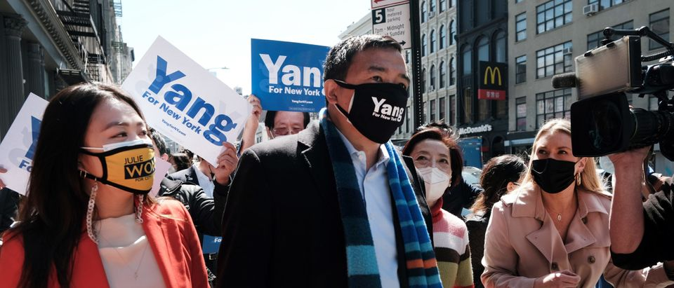 New York Mayoral Candidate Andrew Yang Rides Subway In Solidarity Against Anti-Asian Hate Crimes