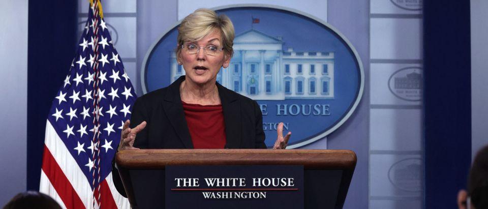 Press Secretary Psaki And Energy Secretary Granholm Hold White House Media Briefing