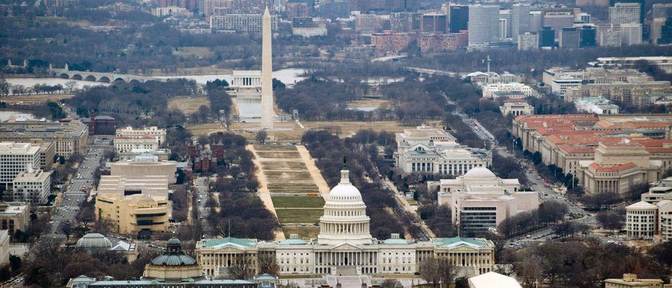 The skyline of Washington, DC, including