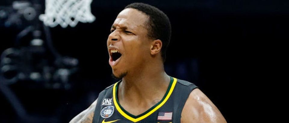 INDIANAPOLIS, INDIANA - APRIL 05: Mark Vital #11 of the Baylor Bears reacts in the second half of the National Championship game of the 2021 NCAA Men's Basketball Tournament against the Gonzaga Bulldogs at Lucas Oil Stadium on April 05, 2021 in Indianapolis, Indiana. (Photo by Tim Nwachukwu/Getty Images)