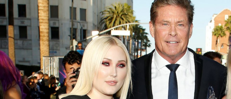 "Actor David Hasselhoff poses with his daughters Hayley Hasselhoff and Taylor Ann Hasselhoff at the world premiere of Marvel Studios' ""Guardians of the Galaxy Vol. 2."" in Hollywood"