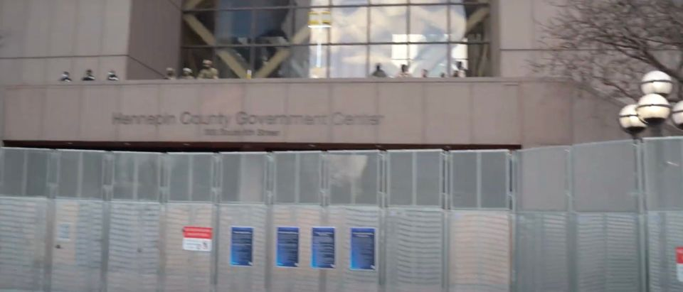 Hennepin County Government Center fortified prior to the verdict in the case against Derek Chauvin [Youtube:Screenshot:Daily Caller]
