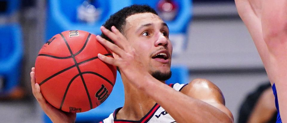Gonzaga Bulldogs guard Jalen Suggs (1) puts a shot up during the Sweet Sixteen round of the 2021 NCAA Tournament on Sunday, March 28, 2021, at Hinkle Fieldhouse in Indianapolis, Ind. Mandatory Credit: Kareem Elgazzar/IndyStar via USA TODAY Sports via Reuters