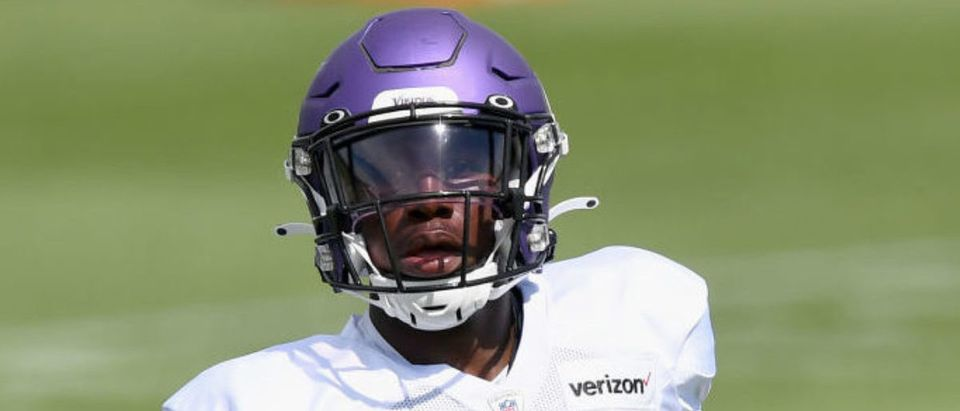 EAGAN, MINNESOTA - AUGUST 19: Jeff Gladney #20 of the Minnesota Vikings looks on during training camp on August 19, 2020 at TCO Performance Center in Eagan, Minnesota. (Photo by Hannah Foslien/Getty Images)