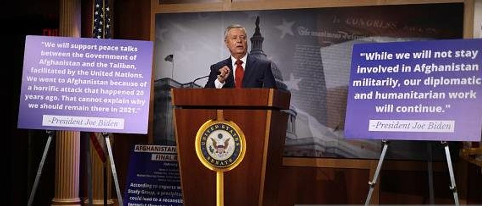 Lindsey Graham speaks during a news conference in response to President Joe Biden's decision to pull troops from Afghanistan by Sept. 11, 2021 (Photo by Alex Wong. Getty)