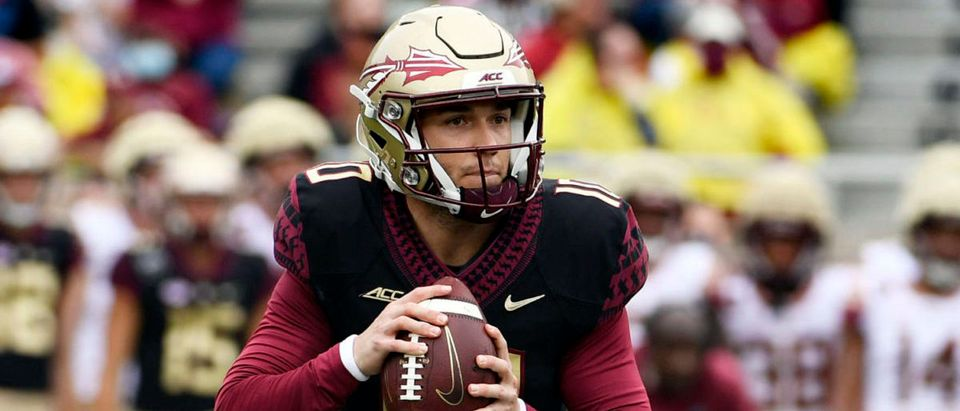 Apr 10, 2021; Tallahassee, Florida, USA; Florida State Seminoles quarterback McKenzie Milton (10) drops back to pass during the annual Garnet and Gold Spring Game held at Doak Campbell Stadium. Mandatory Credit: Melina Myers-USA TODAY Sports via Reuters