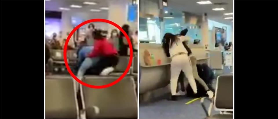 Miami Airport Fight (Credit: Screenshot/Twitter Video https://twitter.com/Dolphinfan201/status/1386407117884563458)