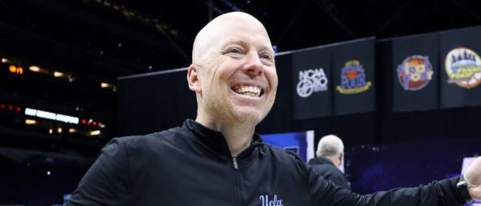 INDIANAPOLIS, INDIANA - MARCH 30: Head coach Mick Cronin of the UCLA Bruins celebrates defeating the Michigan Wolverines 51-49 in the Elite Eight round game of the 2021 NCAA Men's Basketball Tournament at Lucas Oil Stadium on March 30, 2021 in Indianapolis, Indiana. (Photo by Jamie Squire/Getty Images)