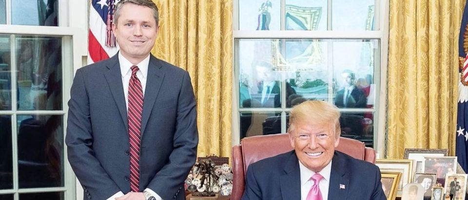 Screen Shot/Daily Caller Obtained/Campaign Ad/Brian Harrison/Donald Trump