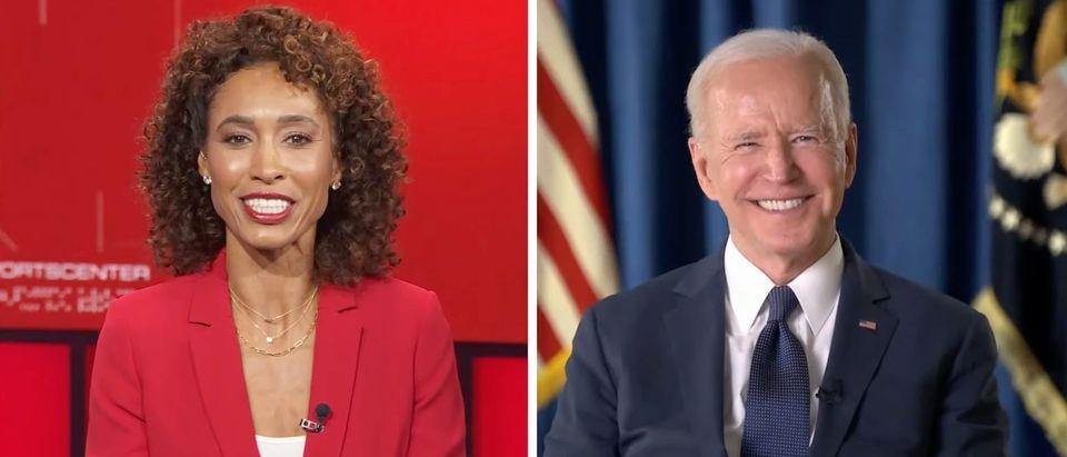 Sage Steele, Joe Biden (screenshot, ESPN YouTube)