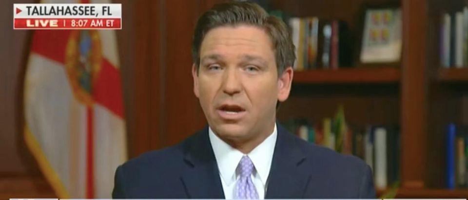"Florida Gov. Ron DeSantis appears on ""Fox & Friends."" Screenshot/Fox News"