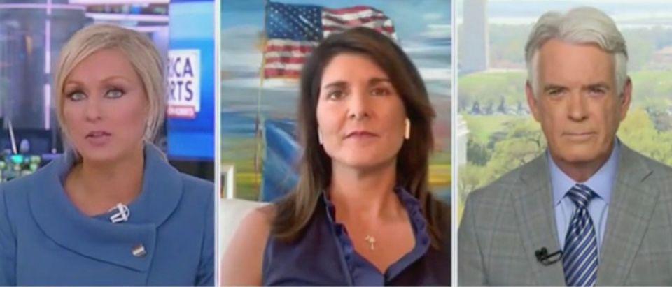 Sandra Smith, Nikki Haley, and John Roberts (Screenshot/Fox News)