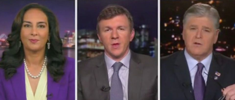 Harmeet Dhillon, James O'Keefe, and Sean Hannity (Screenshot/Fox News)