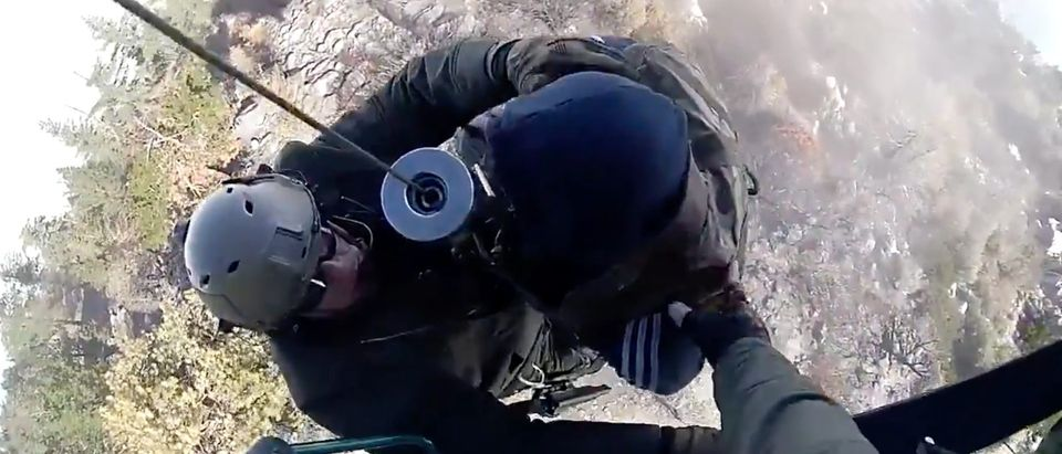 Biker Rescued By Helicopter