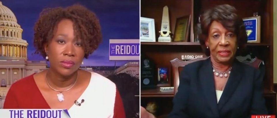 Joy Reid speaks with Rep. Maxine Waters. Screenshot/MSNBC