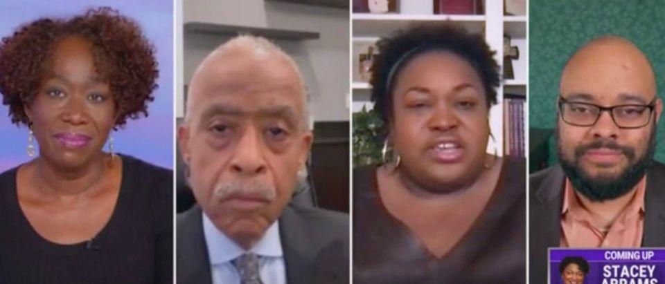 Joy Reid, Al Sharpton, Brittney Cooper, and Phillip Atiba Goff (Screenshot/MSNBC)