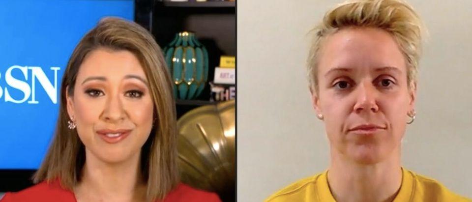 Lana Zak speaks with former US soccer player Lori Lindsey. Screenshot/CBSN