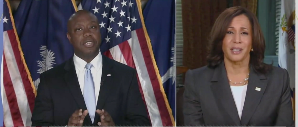 Vice President Kamala Harris said she agreed with Sen. Tim Scott's comments about America not being a racist country. (Screenshot Good Morning America, WFTV-TV ABC 7; Orlando, Fla.)