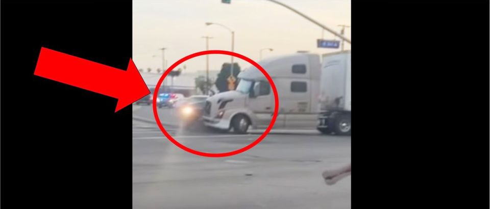 Semi Truck Murder Suspect Crash (Credit: Screenshot/YouTube https://www.youtube.com/watch?v=Pc6QZ6nMug4)