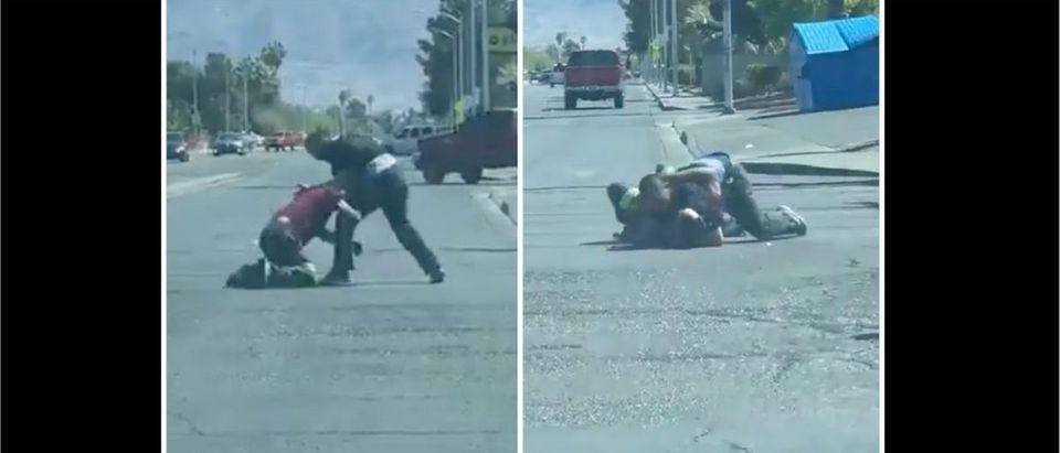 Street Fight (Credit: Screenshot/Twitter Video https://twitter.com/NiceRivera_/status/1378776054882443265/)