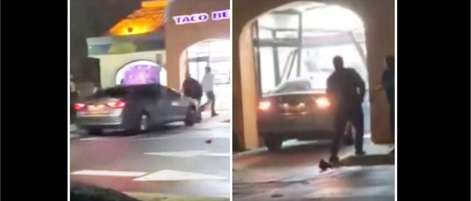 Taco Bell Crash (Credit: Screenshot/TMZ Video https://www.tmz.com/2021/04/01/taco-bell-hit-and-run-women-plowed-through-people-smashed-building/)