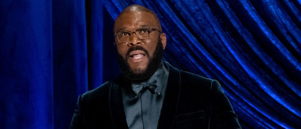 LOS ANGELES, CALIFORNIA – APRIL 25: (EDITORIAL USE ONLY) In this handout photo provided by A.M.P.A.S., honoree Tyler Perry accepts the Jean Hersholt Humanitarian Award onstage during the 93rd Annual Academy Awards at Union Station on April 25, 2021 in Los Angeles, California. (Photo by Todd Wawrychuk/A.M.P.A.S. via Getty Images)