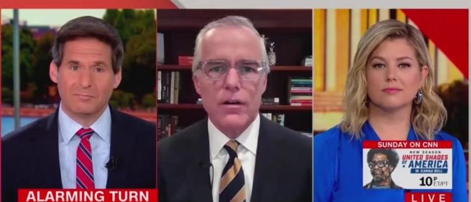 "Andrew McCabe (center), appears on CNN's ""New Day,"" April 30, 2021. (CNN screen grab)"