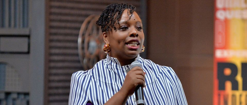 """PARK CITY, UT - JANUARY 26: Artist Patrisse Cullors speaks during the """"Can Art Save Democracy?"""" Panel during the 2019 Sundance Film Festival at Filmmaker Lodge on January 26, 2019 in Park City, Utah. (Photo by Jerod Harris/Getty Images)"""